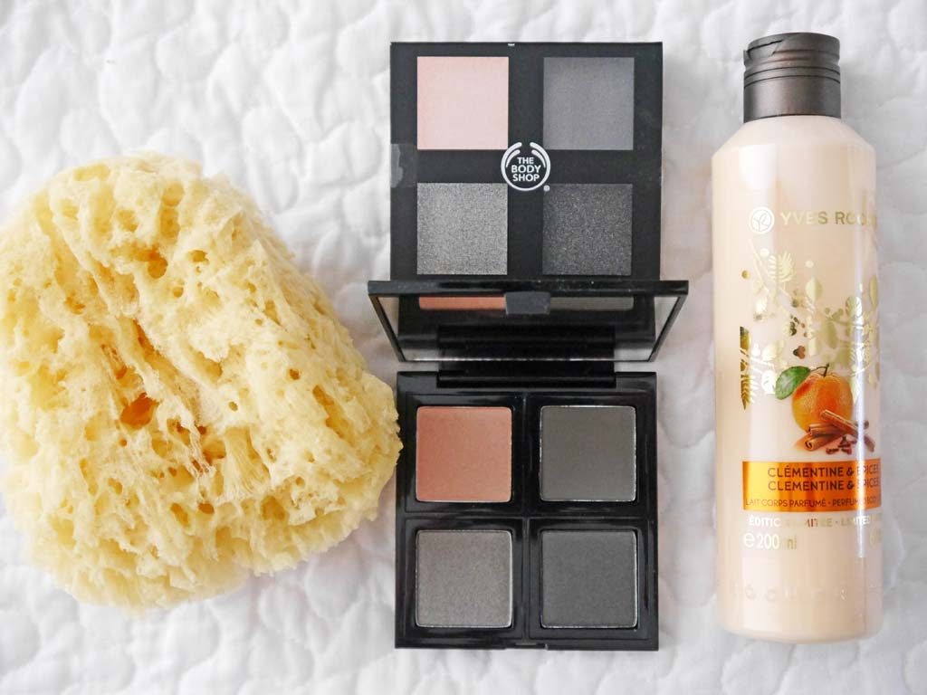 "Naturmeerschwamm von Parsa, Lidschatten ""Down to Earth"", Bodylotion ""Clementine & Spices"""